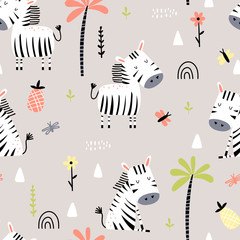 Cartoon seamless pattern with zebras