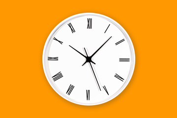 White round clock with black numbers isolated on orange color with shadow. Vibrant color time background.