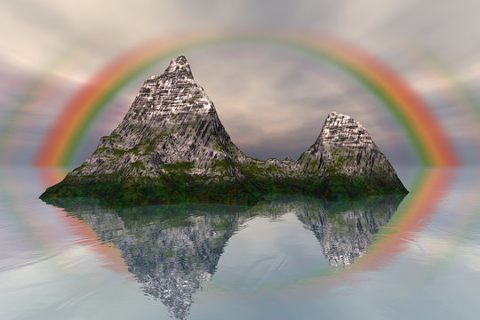 Island, a mediterranean landscape, rocks and grass on the ground, snow on the peak and rainbow in the sky.