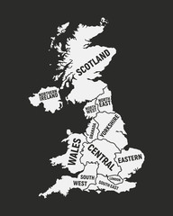 Wall Mural - Poster map of United Kingdom map. UK with country and regions names. United Kingdom background. Vector illustration