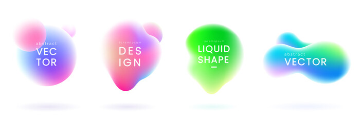 Liquid gradient blobs set. Abstract fluid shapes with chameleon effect. Colorful liquid badges. Decorative elements for your design. Vector eps 10. Wall mural