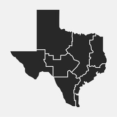 Wall Mural - Texas blank map. Map of Texas with regions. USA background. Vector illustration