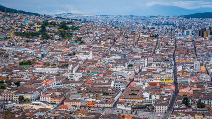 Foto op Canvas Overview of the City of Quito Ecuador with houses bunched together