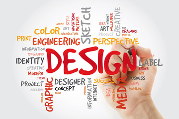 DESIGN word cloud with marker, creative business concept