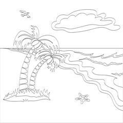Vector outlined illustration of a tropical beach scene. Can use for coloring book.