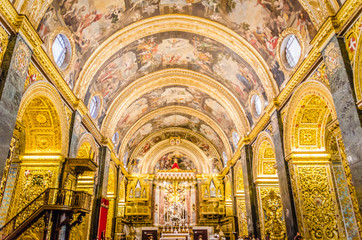 St John's Co-Cathedral a gem of Baroque art and architecture interior. Valetta, Malta