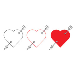 Set of Heart with arrow icon. Valentines day vector line and flat icon , design. Arrow of cupid, Love symbol with arrow.