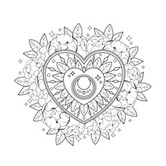 Heart in flowers. Outline drawing on a white background. Page for coloring book, greeting card, print, t-shirt, poster. Vector illustration.