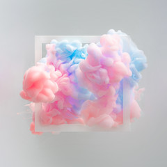 Abstract pastel pink and blue color paint with pastel gray background. Fluid composition with copy space. Minimal natural luxury.