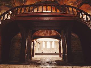 Interior of the old church. Vintage toned. Greek Eastern Orthodox church Hagia Irene. Istanbul, Turkey