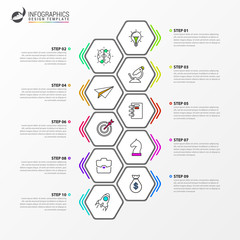 Infographic design template. Timeline concept with 10 steps