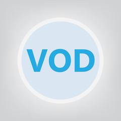 VOD (Video On Demand) acronym- vector illustration