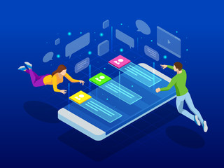 Isometric Social media network. People connecting all over the world. People leaving comments and likes for posts. Vector illustration