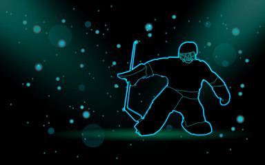 hockey player silhouette on black background with bokeh effect