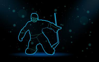 hockey player neon silhouette on black background