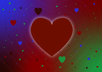 Large love heart on colourful gay lgbt theme background