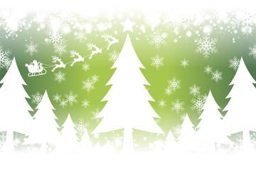 背景イラスト素材,ホワイトクリスマス,聖誕祭,サンタクロース,ツリー,冬のイメージ,雪の結晶,雪景色