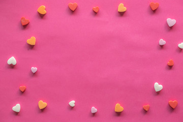 many hearts around blank pink background, Love icon, valentine's day, relationships concept