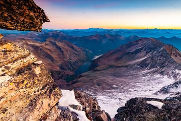 Fantastic top view from Grosser Hafner summit or peak during sunrise, Alps Austria, Hohe Tauern
