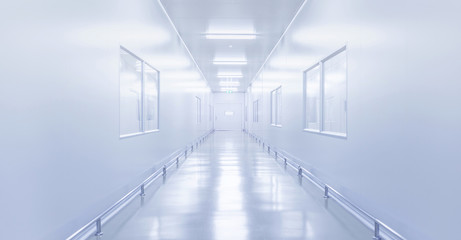 modern interior of science laboratory or factory with fluorescence lighting