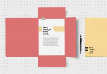 3 Flap Folder and Letterhead Mockup