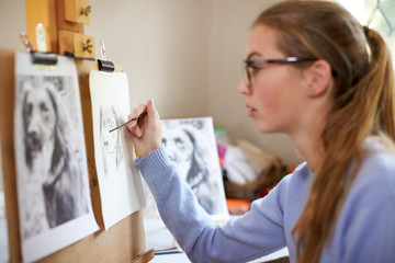 Close Up Of Female Teenage Artist Sitting At Easel Drawing Picture Of Dog From Photograph In Charcoal