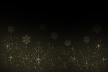 降る雪 雪の結晶とキラキラ(黒背景)