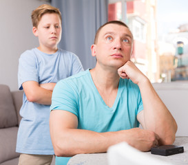 Man is offended and son is not wanting talking with him