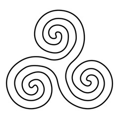 Triskelion or triskele symbol sign icon black color vector illustration flat style image