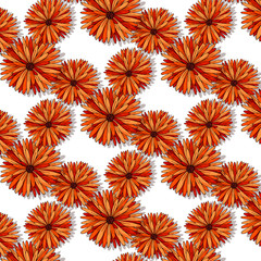 Cute colorful flowers seamless pattern on white background Hand drawn illustration