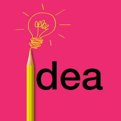 Concept de l'idée avec pour symbole un crayon de couleur dessinant une ampoule