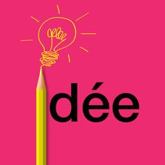 Concept de l'idée, avec le mot écrit en noir sur un fond rose et un crayon jaune qui remplace le i et dessine un ampoule