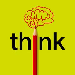 Concept de la pensée, avec le mot think écrit en noir sur un fond vert et un crayon rouge qui remplace les i, et dessine un cerveau.