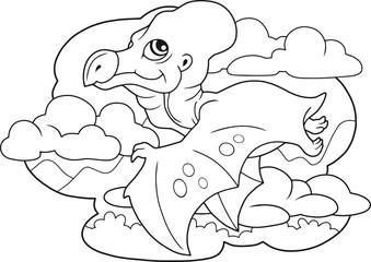 cartoon cute dinosaur pterodactyl, coloring book, funny illustration