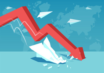Red falling arrow for global crisis concept