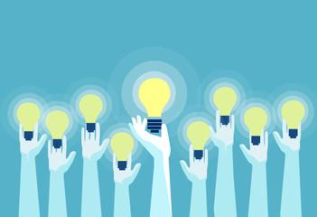 Vector of multiple hands holding bright lightbulbs. Wall mural