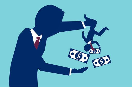 Businessman borrowing money from worker