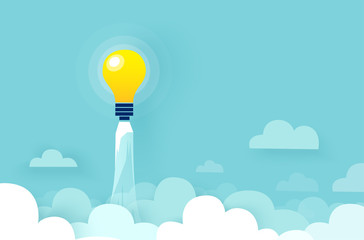 Vector of light bulb rocket flying up over clouds Wall mural