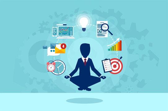 Vector of businessman meditating having a break at work.