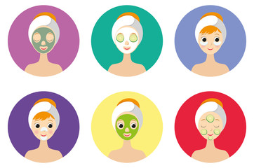 Different types of facial masks and skin care illustration set. Young girl face with various skincare treatments.
