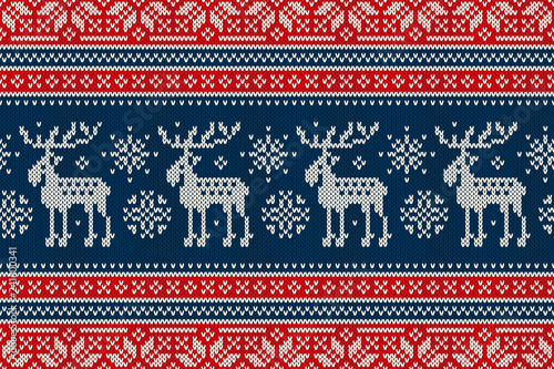 Christmas Sweater Pattern.Christmas Knitting Pattern With Elks And Snowflakes Scheme