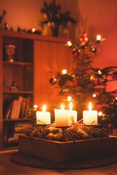 Traditional Advent candles wreath and christmas tree