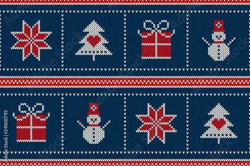 eda43f1a9916 Winter Holiday Seamless Knitted Pattern with a Christmas Symbols   Snowflake