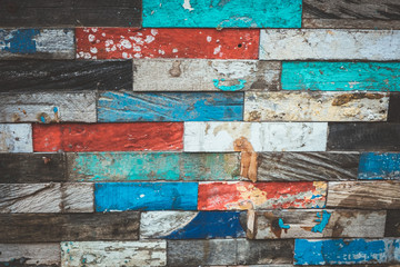 Set of tropical aged colorful wooden backgrounds.