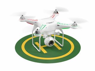 Landing drone on green helipad. 3D