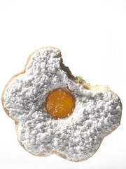 Close up of jam cookie on white background