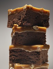 Close up of caramel brownies