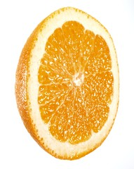 Cross section of sweet lemon isolated against white background