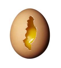 Broken egg isolated against white background