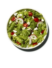 Salad serve on plate against white background